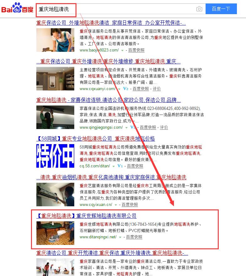 重庆地毯清洗,重庆网站优化案例